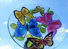 "Butterfly glass bowl 18""D. Food safe. Use as a salad bowl or birdbath!"