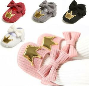 Newborn Gift Baby Girl Crown Crib Shoes Infant Princess Dress Party Shoes 0-18 M