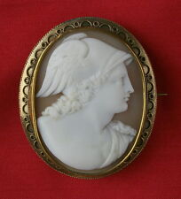 FINE ANTIQUE SHELL CAMEO BROOCH - HERMES