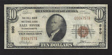 Fall River, Massachusetts, Ch #590, $10.00, 1929 T-1,Very Fine, 30 Reported!