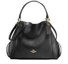 Coach Black Polished Pebble Edie 28 Shoulder Bag