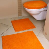 3tlg Bruno Banani Badteppich Badgarnitur Teppich Badematte Toilettenbezug orange