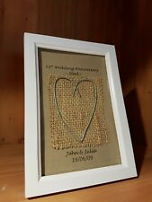 Personalised 11th Wedding Anniversary heart frame gift. Steel Anniversary.