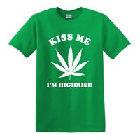 NEW GREEN KISS ME I'M HIGHRISH MARIJUANA WEED POT ST. PATRICK'S DAY TEE T-SHIRT