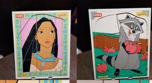 Playskool Pocahontas / Meeko Puzzle Disney Wooden Vintage lot (2) 1995