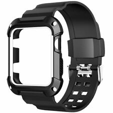 42mm Rugged Sport Black Case Screen Protector Cover Strap Band For Apple Watch