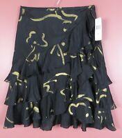 SK14304-NWT RALPH LAUREN Womens Silk A-Line Asymmetrical Skirt Ruffle Sz 8 $159