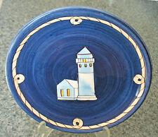 K.I.C. Brushes Nautical LIGHTHOUSE 7.75 PLATE Cobalt Blue Salad/Luncheon/Dessert