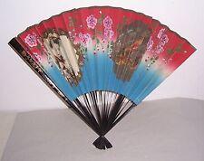 Antiker handbemalter japanischer Papier Fächer Geisha Japan vor 1945 !
