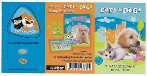 2004 AUSTRALIA SELF ADHESIVE STAMP BOOKLET 'CATS & DOGS' 10 X 50c MNH STAMPS