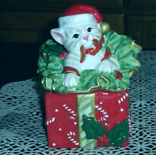 Fitz & Floyd Kitty Kringle Porcelain White Cat Lidded Box