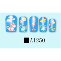 Nail Art Water decals Stickers Transfers Unicorns Stars Rainbow Hearts A1250