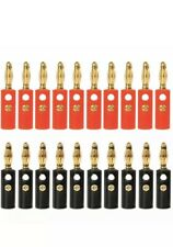 10 X Red & Black Gold Plated Speaker Cable Banana Plug Connector Premium Quality