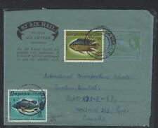 GUYANA  (PP1605B)  1969 QEII   QEII 6C  AEROGRAM +FISH 6C+3C   TO CANADA