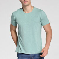 Men's Cool Green Short Sleeve Soft Bamboo Fiber V & Round Neck Tee Shirt L-5XL