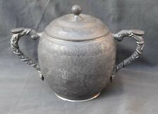 ANTIC CHINESE CARVED PEWTER SUGAR BOWL LON KEE SWATON 888 SUCRIER CHINE ETAIN