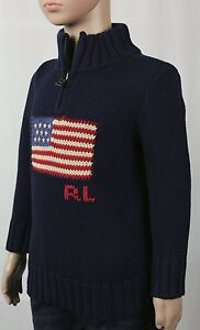 Children POLO Ralph Lauren Navy Blue 1/2 Half Zip American Flag Sweater NWT $90