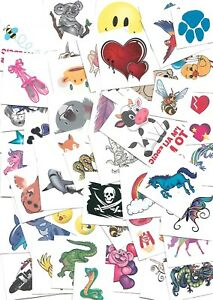 500 Assorted Kids Temporary Tattoos - Great Quality, bulk party favours