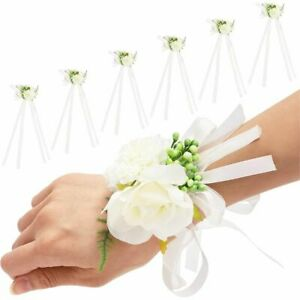 6 Pack White Rose Wedding Wrist Corsage Hand Flower for Bridal and Bridesmaid