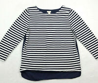 J.Crew Womens Size Small Knit Top, Striped Navy Blue & White Cotton, Long Sleeve