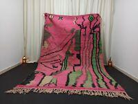 "Pink Vintage Boujad Moroccan Rug 6'2""x 9'7"" Feet Berber Handmade Pink Green Rug"
