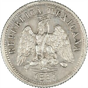 Mexico 1887 10 Centavos EF, UNLISTED IN KRAUSE