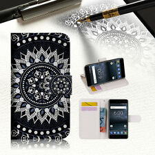 Black AZTEC TRIBAL TPU Wallet Case Cover For Nokia 5.1 -- A005
