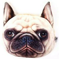 PUG FACE FILLED CUSHION WITH EARS AND HAND HEAD BAND VELOUR TRAVEL CAR PLANE DOG