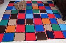 Large RUG Hand crochet BEDSPREAD Handmade Travel Picnic BLANKET Car Travel Check