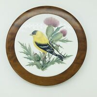 "Oregon 8"" Myrtlewood Trivet Hot Plate with 6"" Finch  Thistle Ceramic Tile Center"