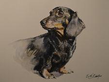 Original Painting by American Fine Artist Grace Eun Jung/ Dachshund Dog