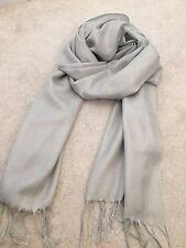 Silver Grey Pashmina Silk Shawl Scarf Wrap Summer Handmade Gift Fine Knit Wool