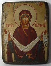Handmade copy ancient icon ORTHODOX CHURCH ICON Protection of the Theotokos 30S