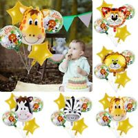 6Pcs Animal Balloons Safari Jungle Birthday Kids 1st Party Baby Shower Supplies