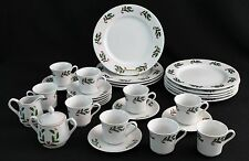 Christmas Holly Dinnerware Set Fine China 29pc Holiday Plates Cups Creamer Sugar