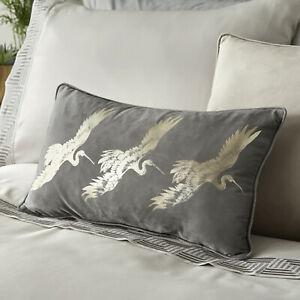 LLB Designer QING Cranes Print Luxurious Soft Velvet Cosy Slate Filled cushion