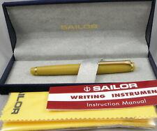 Sailor Pro Gear Slim Citrine Yellow & Gold Fountain Pen in Box - 14kt Medium Nib