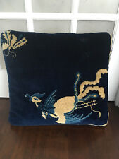 Rare Antique 19th Century Large Art Deco Chinese Pictorial Rug Pillow - Blue