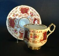 Elizabethan Pedestal Tea Cup And Saucer - Boho - Dark Red And Gold - England