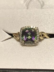 Natural Mystic Fire Topaz & 1/10 ct Diamond Ring in 10K Gold