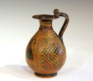 Vintage Old Greek Pottery Grand Tour Pitcher Vase Ancient Krater Terracotta
