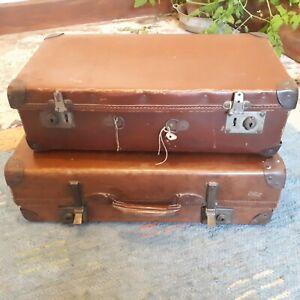 "2 x Antique Vintage Brown Classic Decorative Luggage Suitcases British Made  ""L6"