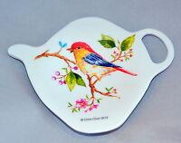 Ashdene Goldfinch Birds Tea Bag Holder Teapot Shape Melamine
