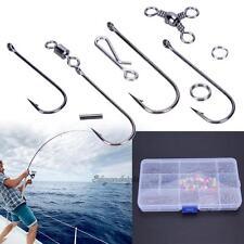 Set of 400+ Sea Fishing Rig Rings Beads Swivels Crimps Barless Hooks Tackle Box