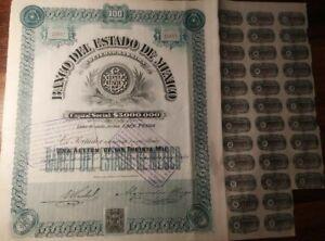 Mexico 1906 Mexican Banco Estado 100 Pesos Coupons NOT CANCELLED Bond Share Loan