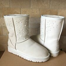 UGG Classic Short Everlasting Swarovski Bling White Suede Boots Size US 6 Womens