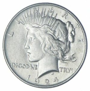 Choice AU/UNC 1924 Peace Silver Dollar - 90% Silver *937