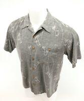 Banana Cabana Men's Hawaiian Gray Short Sleeve Wood Button Shirt Size Med
