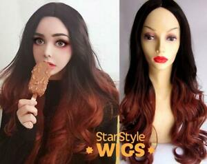 DELUXE KARDASHIAN STYLE LONG WAVY OMBRE BROWN RED WIG MIDDLE PART HEAT RESISTANT