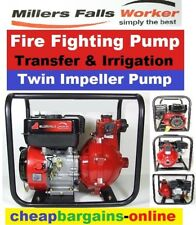 PETROL FIRE FIGHTING PUMP TWIN IMPELLER PORTABLE IRRIGATION TRANSFER WATER PUMP